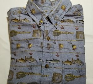 Vintage Woolrich Fly Fishing Blue Shirt Size XL